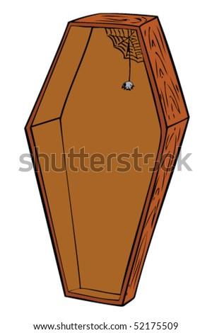 Wooden coffin. - stock vector