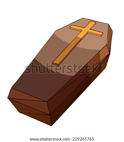 Wooden Coffin Vector Illustration isolated on White Background.  - stock vector