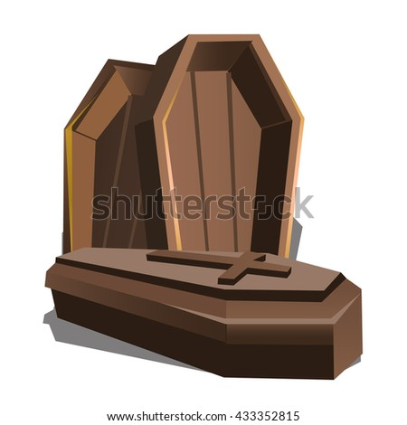 Wooden coffins with a cross on the lid. Vector illustration. - stock vector