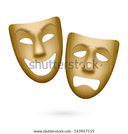 Wooden comedy and tragedy theatrical masks. Vector. - stock vector