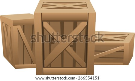wooden container with a parcel  - stock vector