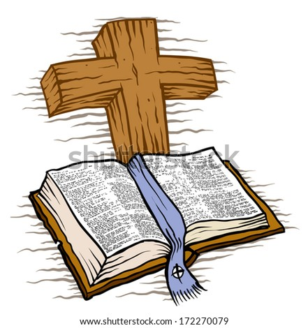 Wooden cross and Bible - stock vector