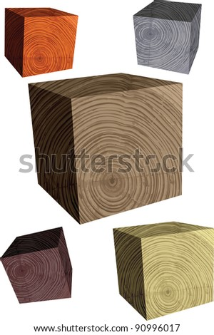 wooden cube - stock vector