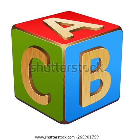 wooden cube with letters A,B,C - stock vector