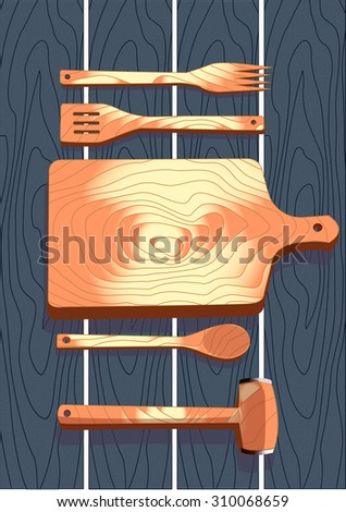 Wooden cutlery, fork, spoon, cutting board, hammer, vector illustration - stock vector