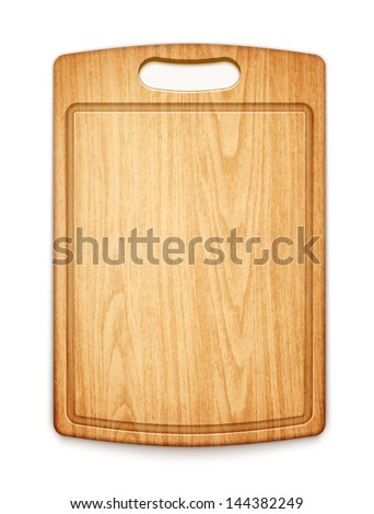 wooden cutting board on white background eps10 vector illustration - stock vector