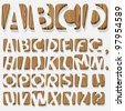 Wooden 3D alphabet.Vector eps10 - stock vector
