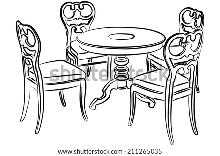 Wooden Dining room, table and chairs - stock vector