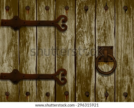 wooden door with forged hinges.vector illustration