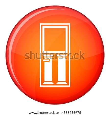 Wooden door with glass icon in red circle isolated on white background vector illustration