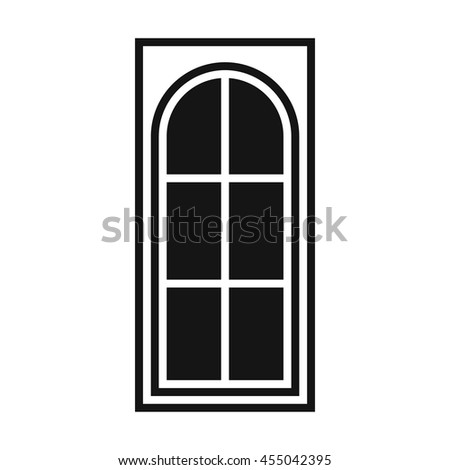 Wooden door with glass icon in simple style isolated vector illustration