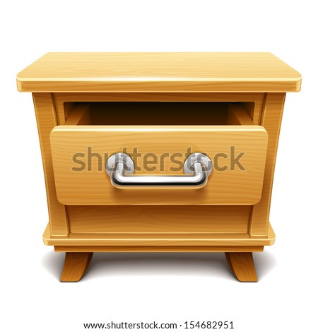 Wooden drawer illustration - stock vector