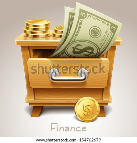 Wooden drawer illustration for finance icon - stock vector