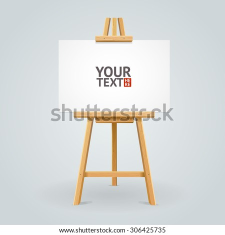 Wooden easel isolated on grey background with place for your text. Vector illustration - stock vector