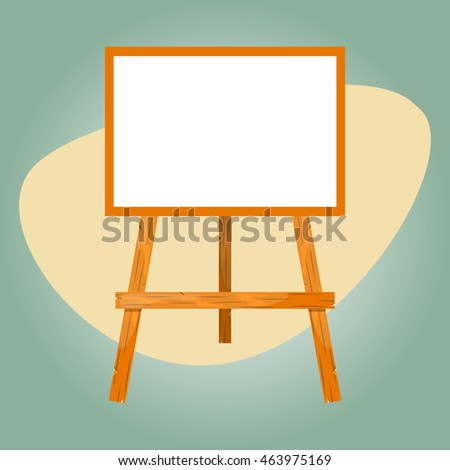 Wooden easel with a blank canvas.