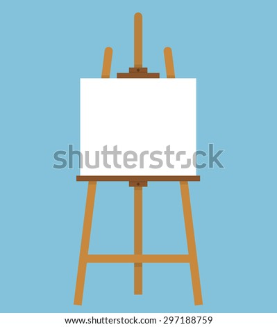 Wooden easel with a blank canvas. Flat style - stock vector