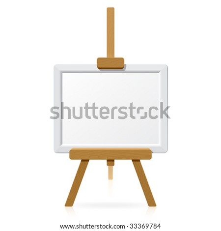 Wooden easel with blank canvas. Vector. - stock vector