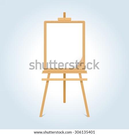 Wooden easel with blank paper sheet - stock vector