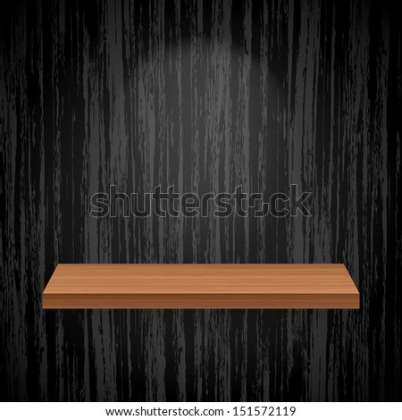 Wooden empty shelf for exhibit