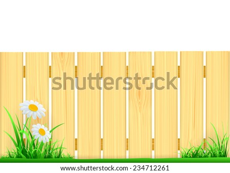 wooden fence and green grass - stock vector