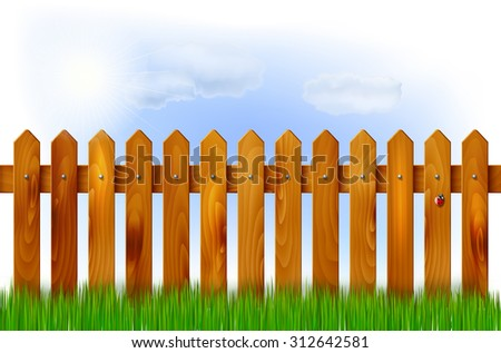 Wooden fence, grass and sky with sun and clouds - vector illustration - stock vector
