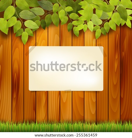 Wooden fence, grass, tree branch and paper board for your message - vector illustration - stock vector