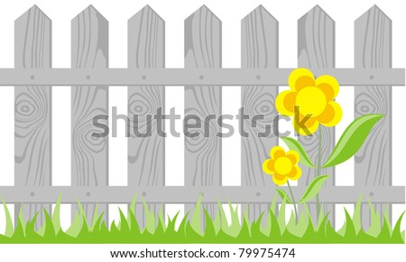 wooden fence on white background, the vector - stock vector
