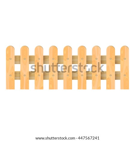 Wooden fence. Vector illustration. isolated on white