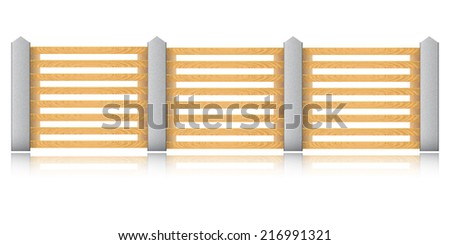 Wooden fence with concrete columns on a white background. Vector illustration.  - stock vector