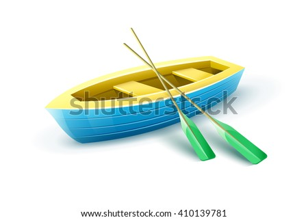 Wooden fisherman's boat from paddles for fishing or kayaking extreme sports and entertainment vector illustration. Fishing boat equipment icon - stock vector