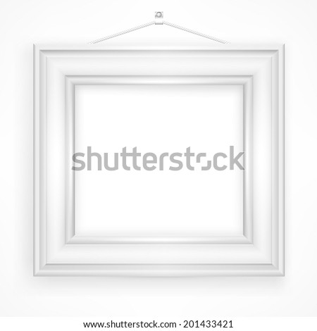Wooden frame for picture on white background, vector illustration - stock vector