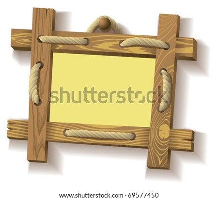 Wooden frame hanging on crude rope, vector illustration - stock vector