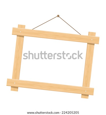 Wooden frame. Isolated over white. - stock vector