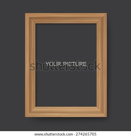 Wooden frame on a black background - stock vector