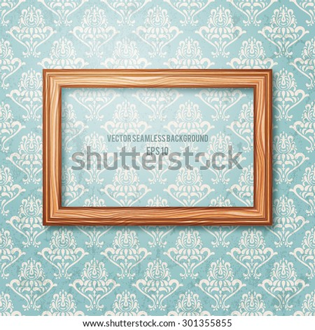 Wooden frame on the wall. Vintage background. EPS10 vector illustration. - stock vector