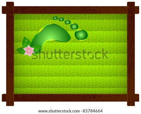Wooden frame with a dark green background of cellular, human footprint and flower - stock vector