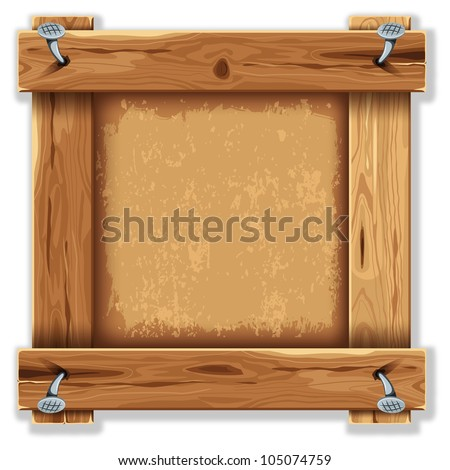 Wooden frame with grunge backdrop - stock vector
