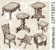 wooden furniture - stock vector