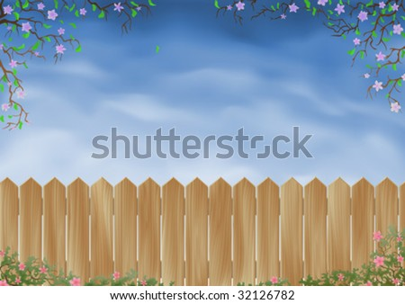 Wooden garden fence surrounded by flowers (vector image)