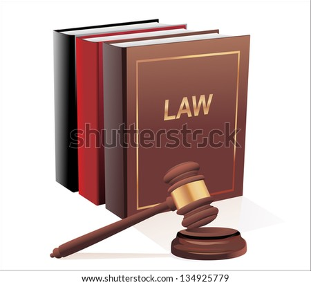 Wooden gavel and law books isolated on white