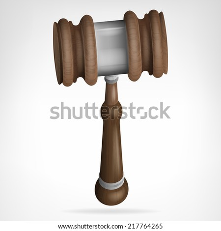 wooden gavel isolated objecton white vector illustration