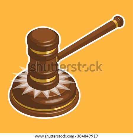Wooden glossy judge gavel hit. Isometric vector illustration - stock vector
