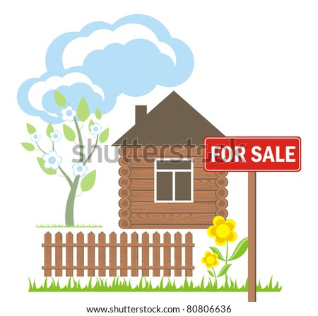 wooden house with a sign for sale - stock vector