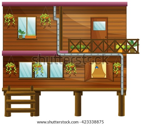 Wooden house with two stories illustration - stock vector
