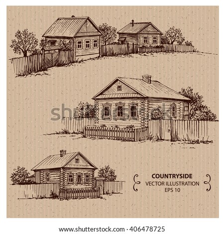 Wooden houses in the village. Hand drawn vector illustration - stock vector