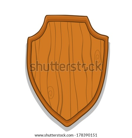 Wooden Hunt Trophy Nameplate Vector Illustration