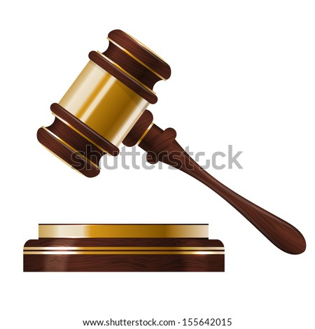 Wooden judges gavel - stock vector