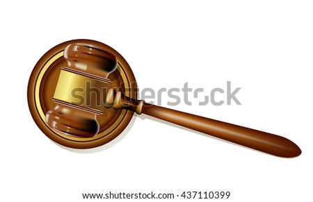 wooden justice gavel on white. realistic vector illustration - stock vector