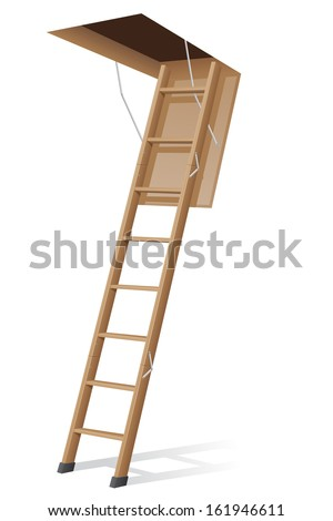 wooden ladder to the attic vector illustration isolated on white background - stock vector