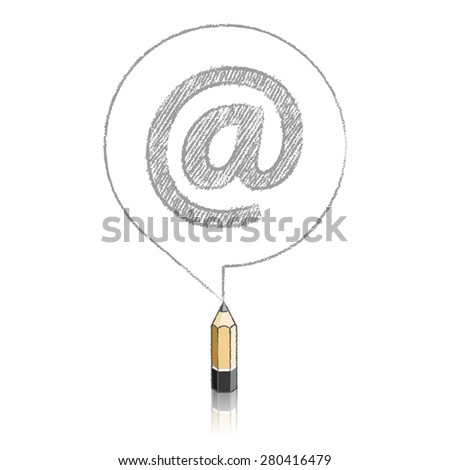 Wooden Lead Pencil with Reflection Drawing a Shaded At sign in Round Speech Bubble on White Background - stock vector